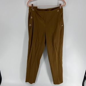 Massimo Dutti Brown Buttoned Pant NWT Womens 8